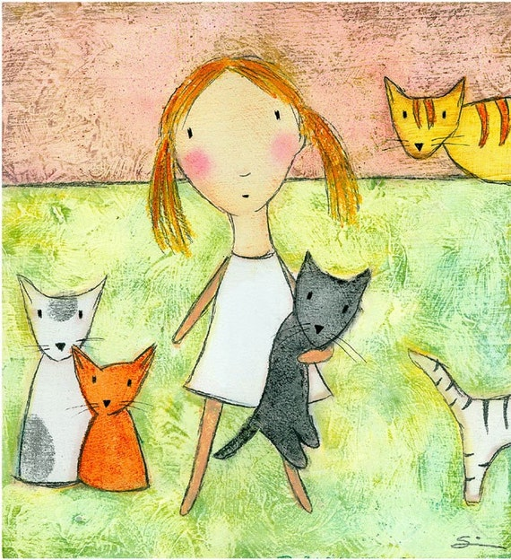 PRINT - Girl with Multiple Cats