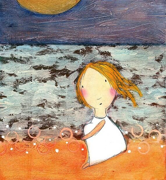 PRINT - Little Redhead at Beach