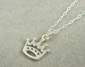 The Crown sterling silver tiny charm necklace