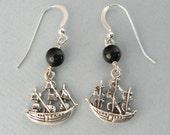 The Black Pearl pirate ship earrings - avast me hearties yo ho