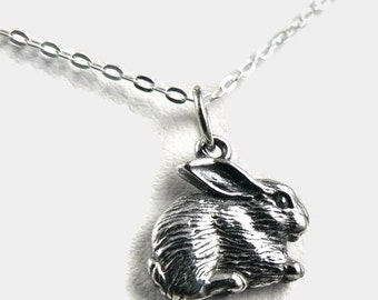 Fluffy Bunny sterling silver charm rabbit pendant necklace woodland jewelry.