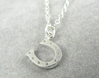 Tiny Horse Shoe Sterling Silver Necklace Lucky Charm