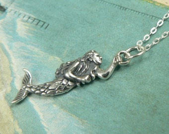 Mermaid Sterling Silver Pendant Petite Charm Necklace