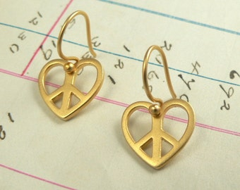 Peace Symbol Vermeil Heart Shaped Charm Earrings 24k Gold over Sterling Silver