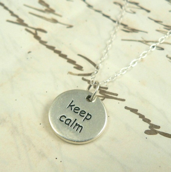 Keep Calm and Carry On sterling silver charm necklace jewelry.