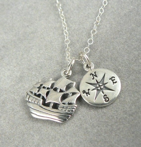 Voyage Sterling Silver Ship Compass Charm Necklace Nautical Inspiration Jewelry