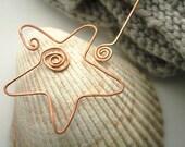 Star shawl pin, copper