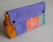 2 Snap Pouch - Printed Purple/Orange Multi