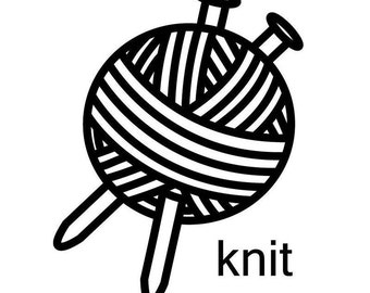 Knitting Decal - 'Knit' Vinyl Decal (knitting sticker)