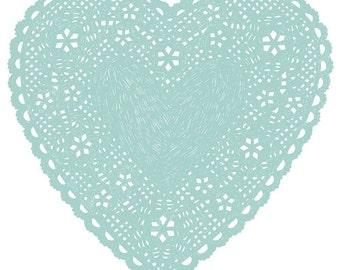 Heart Doily Art Print by Ashley G - Much Love (Blue)