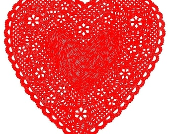 Heart Doily Art Print by Ashley G - Much Love (Red)