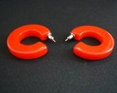 Red Vintage Bakelite Hoop Earrings