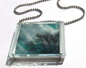 Aqua Sky Artist Glass Necklace