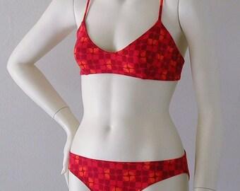 Rothko Print Cotton Lycra Ballet Top Two Piece Bikini in S.M.L.XL