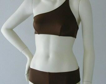 One Shoulder Bikini Top and Brazilian Boy Short Bikini Bottom Swimsuit in Chocolate Brown in S.M.L.XL.