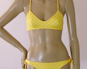 Crossback Ballet Top and Tie Bottom Bikini in Yellow Polka Dot in S-M-L-XL