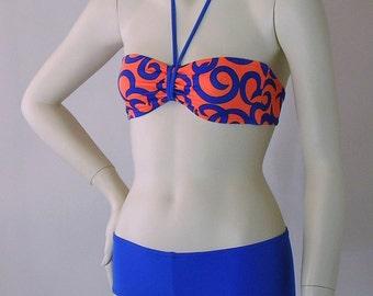 Neon Orange Curls Bandeau and Boy Short Bikini in S-M-L-XL
