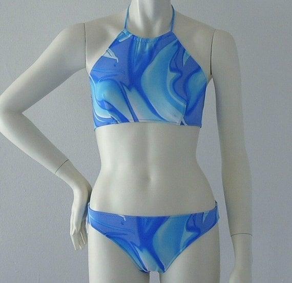 Splash Print High Neck Halter Bikini Made To Order in S-M-L