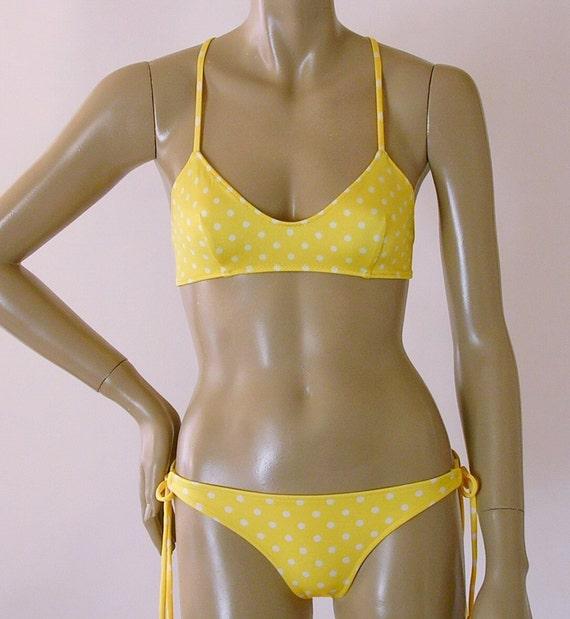 Crossback Ballet Top and Tie Bottom Bikini in Yellow Polka Dot in S-M-L-XL