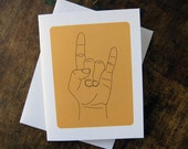 Rock On (Hand Signs) note card