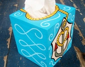 Anchors Aweigh Tissue Box Cover Hand Painted by Debbie Is Adopted