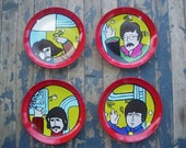 Beatles Yellow Submarine Hand Painted Plates Set of the Fab Four