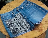 Cutoff Studded Denim Shorts with Southwestern Tribal Patch Festival clothing