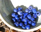 31 Handmade Egyptain Paste Clay Beads - Kiln Fired - Cobalt Blue