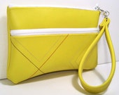 the KATRINA Wallet Wristlet in Yellow with Stripes