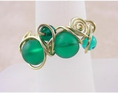 Frosted Green Wire Wrap Ring CHD Size 8-5