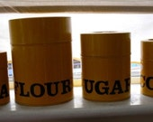 Yellow Typography Kitchen Canisters - 4 included