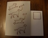Dogs that bark Good Day.  Blank note card set, antique rubber stamps.