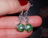 Green Snowball Earrings
