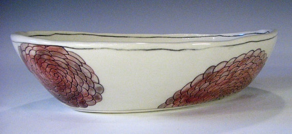 red dahlia oval serving bowl