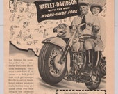 Harley-Davidson motorcycle couple '40s original PRINT AD Hydra-Glide Fork vintage advertisement hog 1949