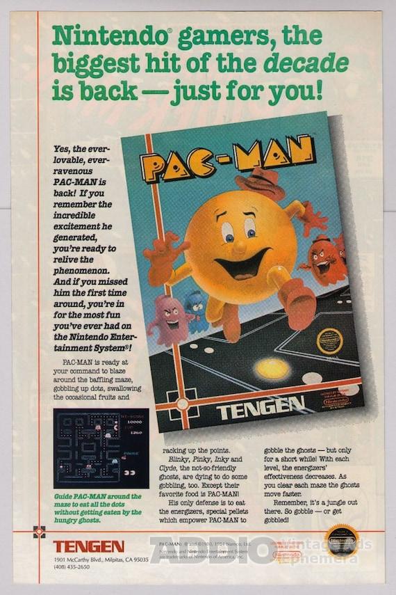 Pac-Man video game '80s PRINT AD Tengen Nintendo vintage advertisement 1989