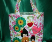 Kokeshi doll tote bag