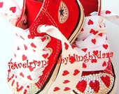 Swarovski Converse Infant Toddler RED HEARTS PERSONALIZED name Bling Crystal Red All Star Converse HiTop Sneakers Shoes