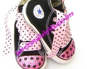 Infant Toddler Bling Converse PINK BLACK DOT Crystal Chuck Taylor All Star Black HiTop Sneakers