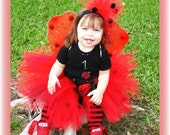Custom Boutique Posh Little LADYBUG Tutu, Wings and Headband Set