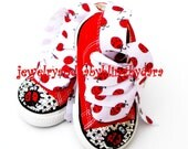 Infant Toddler Bling LADYBUG Crystal Red Converse Hi-Top Sneakers Shoes