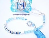 Boutique Custom Baby Bling Boy  Swarovski Crystal Sterling Silver Personalized Name Pacifier Clip Attacher Holder