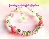 Girl's Name Bracelet Baby Child Girl Tween Sterling Silver Rose Flower Swarovski Crystal Name Bracelet