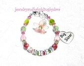 Big sister and Little sister Name bracelet children's bracelet Child Girl Flower Sterling Silver Charm Name Bracelets Set of 2