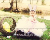Easter Tutu Custom Boutique Baby Bling Pink and White Easter Bunny Tutudress