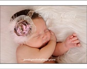 NEW Handmade Raw Silk Single Rosette With Lace Feathers and Gold Rhinestone Center on Soft Ribbon Headband with Tulle accent...Available in a Variety of Colors...Various Sizes Available Newborn Infant Baby Toddler Big Girl Adult