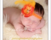 NEW Orange mini Cabbage Rose Flower Feather Accent and Rhinestone Gem Center Purple Ruffle Headband Perfect for Infants to Adults