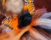 NEW MONARCH Jeweled Butterfly Angel Wings Headband Flowers Feathers Rhinestone Gem Butterfly Accents - Incredible Photo Prop