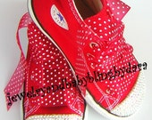 Baby Infant Toddler Bling RED DIAMOND Swarovski Crystal Red  Bling Converse Hi-Top Sneakers