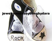 Bling Swarovski Crystal ROCK STAR Black Converse Hi-Top Baby Boy or Girl Child Bling Sneakers Shoes